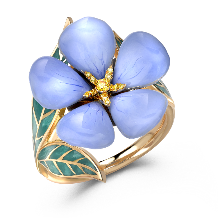Wildflower Blue Flax Yellow Diamond Ring<br /> 0.06CT in Yellow Gold