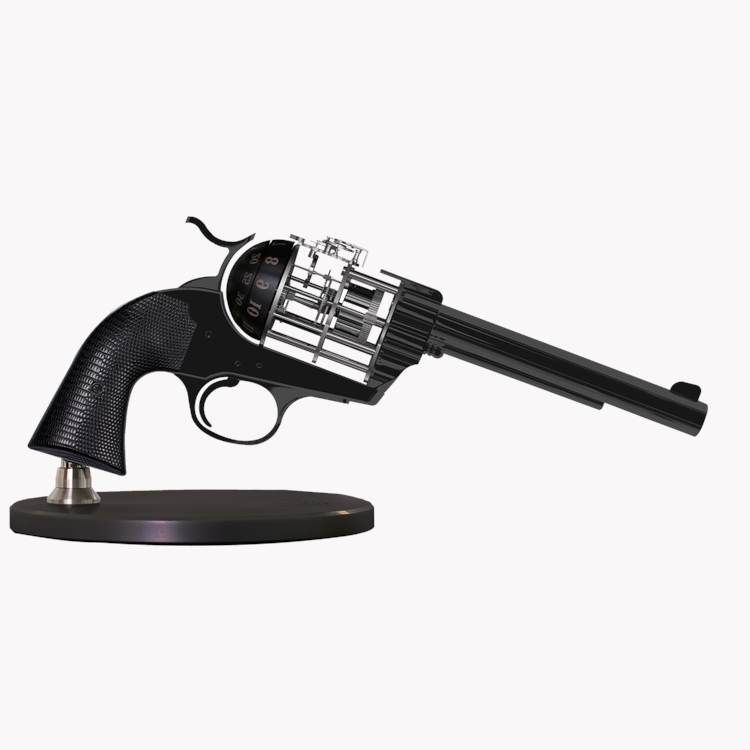 L'Epée Pistol Clock  in Black Stainless Steel & Wood Effect_1