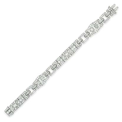 Platinum Cartier Baguette and Brilliant Cut Diamond Bracelet