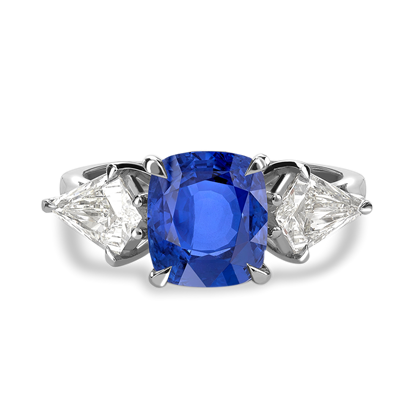 Cushion Cut Blue Sapphire Ring<br /> 2.92CT in Platinum