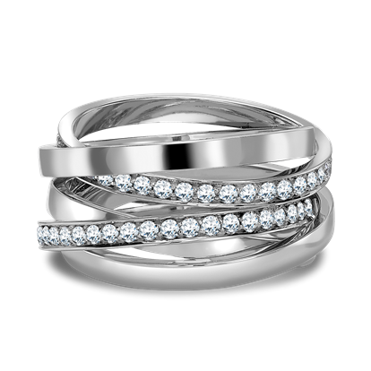 Trilogy Multi-Row Diamond Ring<br /> 1.17CT in 18CT White Gold