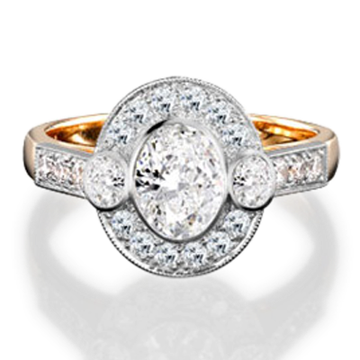 Oval Cut Diamond Ring<br /> 0.96CT in Yellow Gold & Platinum