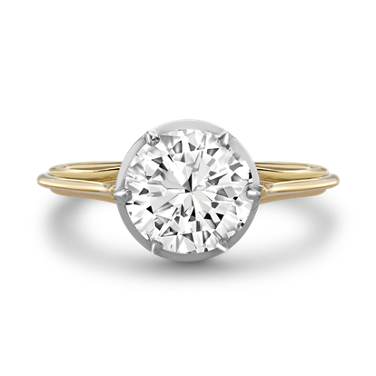 Brilliant Cut Diamond Ring<br /> 1.24CT in Yellow Gold & Platinum