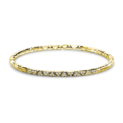 Groove Diamond Textured Bangle<br /> 0.36CT in Yellow Gold