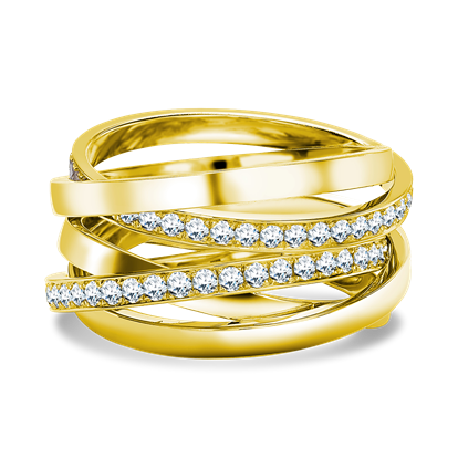Trilogy Multi-Row Diamond Ring <br /> 1.22CT in Yellow Gold