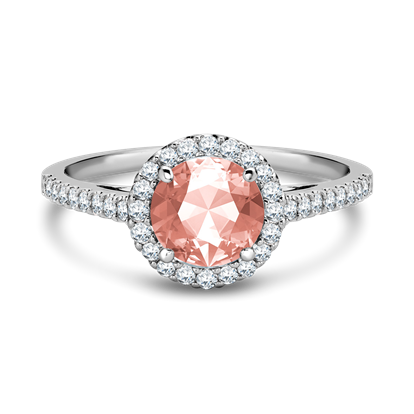 Morganite and  Diamond Cluster Ring <br /> 0.86ct in White Gold