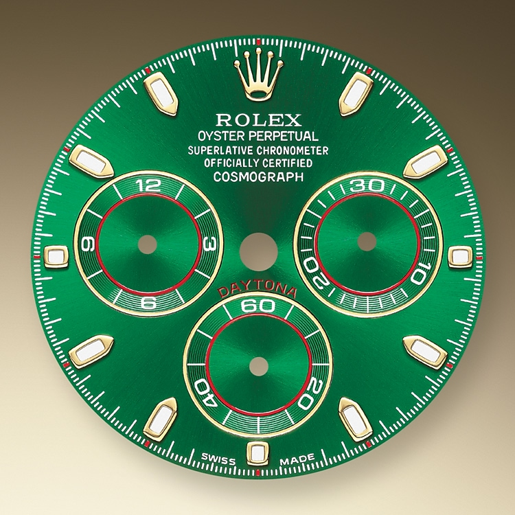 This model's Green dial with snailed counters features 18 ct gold applique hour markers and hands in Chromalight, a highly-legible luminescent material. The central sweep seconds hand allows an accurate reading of 1/8 second, while the two counters on the dial display the lapsed time in hours and minutes. Drivers can accurately map out their track times and tactics without fail.